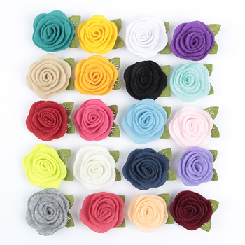 20pcs/lot 20colors Fashion handmade felt rose flower Diy for baby girls hair accessories headband ornaments 20pcs lot 15n06 90