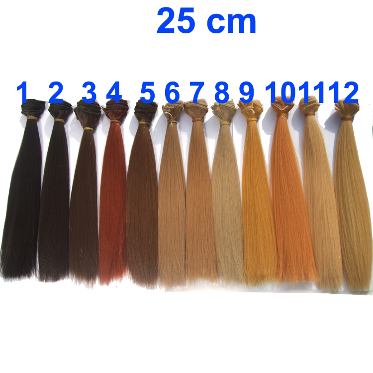 <font><b>Wig</b></font> refires <font><b>bjd</b></font> hair 25cm length black <font><b>brown</b></font> flaxen golden natrual color long straight <font><b>wig</b></font> hair for <font><b>1/3</b></font> 1/4 <font><b>BJD</b></font> DIY image