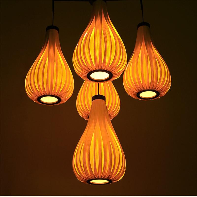 Vintage Led Pendant Light Oak Wood Retro Lamp E27 Hanging Fixture Loft Bar Asian Japanese Chinese Country Style