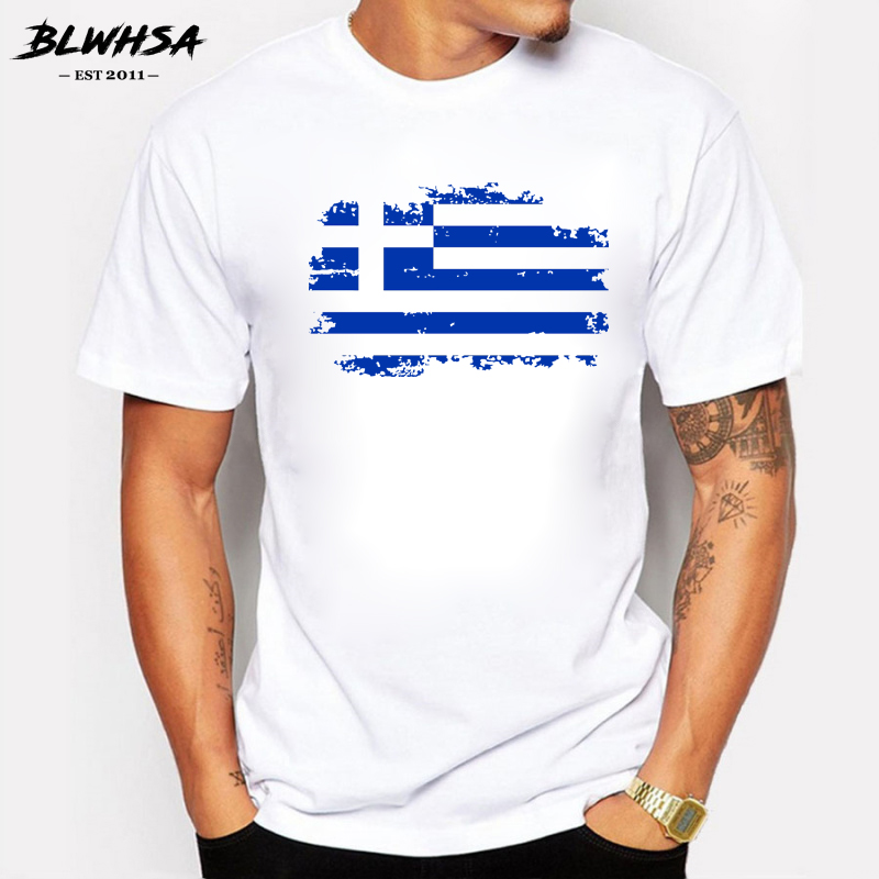 The Summer Greece Flag Men   T     shirts   100% Cotton Short Sleeve Fans Nostalgia Greece Flag Style   T  -  shirts   For Men