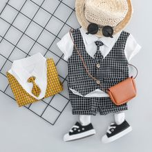 Infant Boy T-shirt Tops+Shorts 2Pcs Wedding Party Birthday Kids Outfits 2019 Summer Newborn Baby Boys Gentleman Clothes Sets(China)
