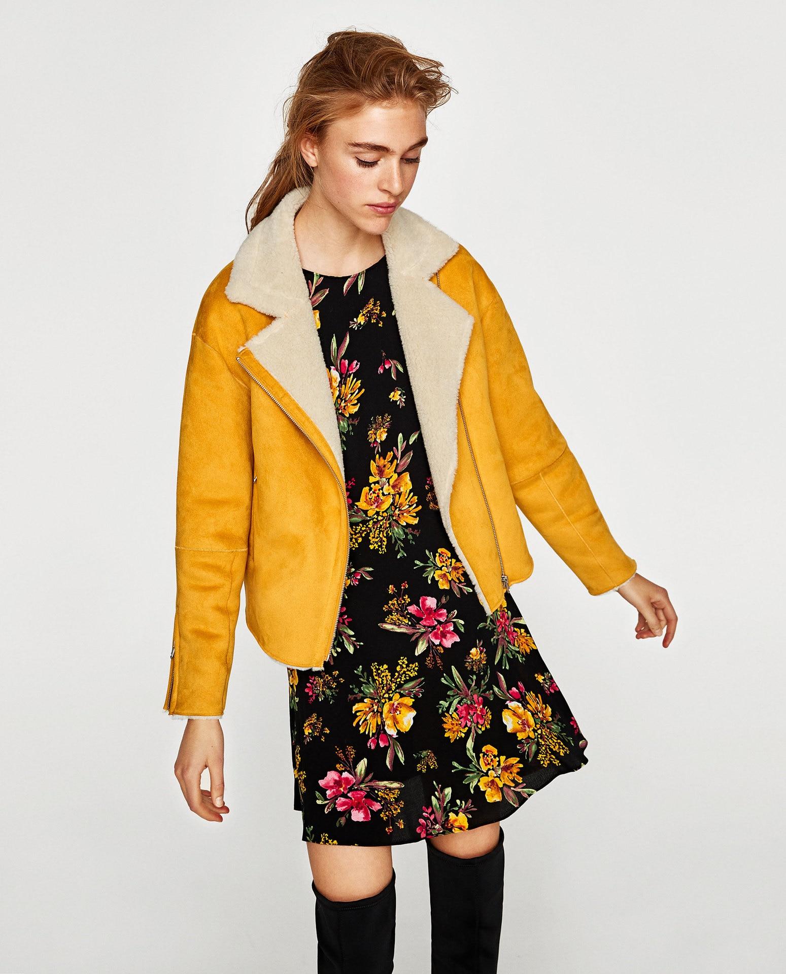 c4ad5e934509 jaune Veste Manteaux Épais Collier Courte Kaki Femmes 2018 Chaud  Survêtement De D hiver Faux Mode Poches Zipper Laine Suede ...