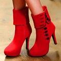 Europeus e Americanos estilo mais tamanhos 35-43 das mulheres de alta-salto alto botas de camurça com linha botão decoração da moda botas com zíper DT558