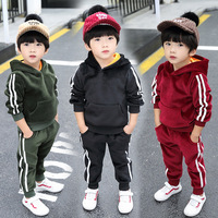 Boys Long Sleeve Hooded Solid Color Thick Fleece Winter Warm Windbreak Hoodie Clothing Sets Sports Clothing Sets