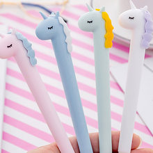 1 PCS Carino Macaron Unicorno Gel Penna di Scrittura Penne Canetas Materiale Escolar Kawaii Staitonery Paperlaria Scuola Forniture(China)