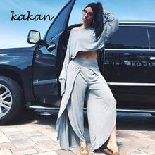 купить Kakan best women's jumpsuit two-piece summer sexy fashion one-shoulder long-sleeved jumpsuit solid color casual split jumpsuit дешево