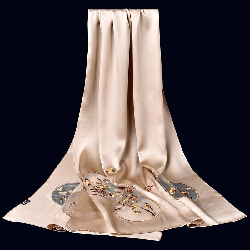 Дамы 100% чистый Шелковый шарф люксовый бренд 2019 шелк из Ханчжоу шали и обертывания для женщин вышивка длинные натуральные настоящие шелковы... - 2