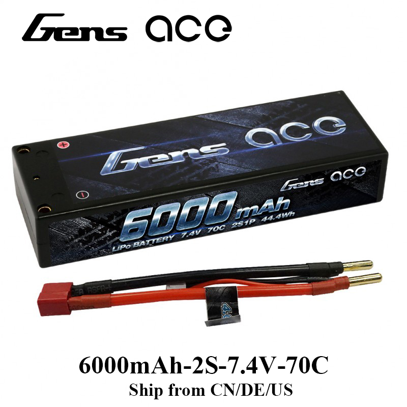 Gens ace Lipo Battery 2S 6000mAh Lipo 7.4V Battery Pack 4.0mm Bullet to Deans Racing Battery for RC Airplane RC Boat Helicopter gens ace lipo battery 11 1v 5000mah lipo 3s 45c rc battery pack deans plug for mikado logo500 align t rex550 600 gaui x5 rc car