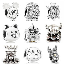 Btuamb Vintage Star Owl Cat House Mickey Cartoon Charm Beads Fit Pandora Bracelets & Bangles for Women DIY Making Ethnic Jewelry(China)
