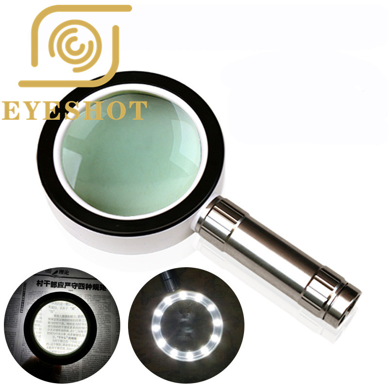 EYESHOT High Quality LED Loupe Magnifier 10X Magnifying Jewelry Glass 85mm Handheld Magnifier For Reading Repairing 10x magnifying glass 60mm portable handheld magnifier for jewelry newspaper book reading high definition eye loupe glass