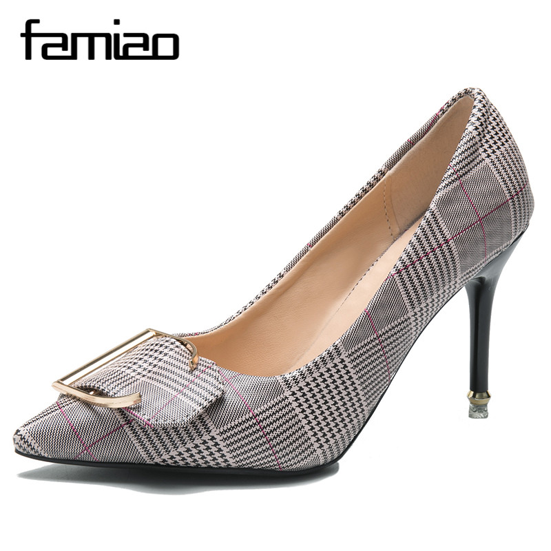 FAMIAO women pumps high heel metal thin heel party shoes retro Stiletto Thin Heel Pointed Toe Patent leather Zapatos Shallow new arrival awesome pink silk metal stiletto high heel shoes women fancy metal branch decoration thin heel pointy pumps hot sell