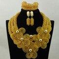 Amplio Stock! lujo Champagne Cristal Flor Collar Llamativo Conjunto HX882 Dubai vestido de Novia Traje Conjunto Joyería de Las Mujeres Envío libre