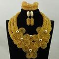 Grande Estoque! luxo Champanhe Cristal Flor Colar Apelativo Set Dubai HX882 Traje de Casamento Conjunto de Jóias Mulheres Frete grátis