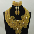 Large Stock !Luxury Champagne Crystal Flower Statement Necklace Set Dubai Wedding Costume Women Jewelry Set Free shipping HX882