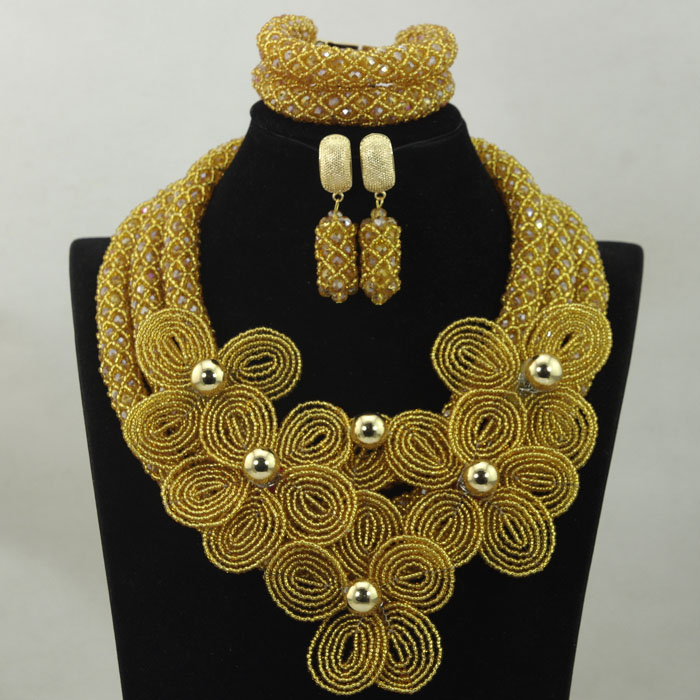 Luxury Champagne Crystal Flower Statement Necklace Set African Beads Jewelry Set Dubai Wedding Costume Women Jewelry Set HX882
