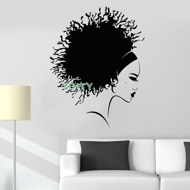 vinyl wall decal afro hairstyle beautiful black girl hair salon