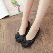 New Shoes Leisure Gauze Lace Bow Are A All-match  Shoes Woman flats casual shoe