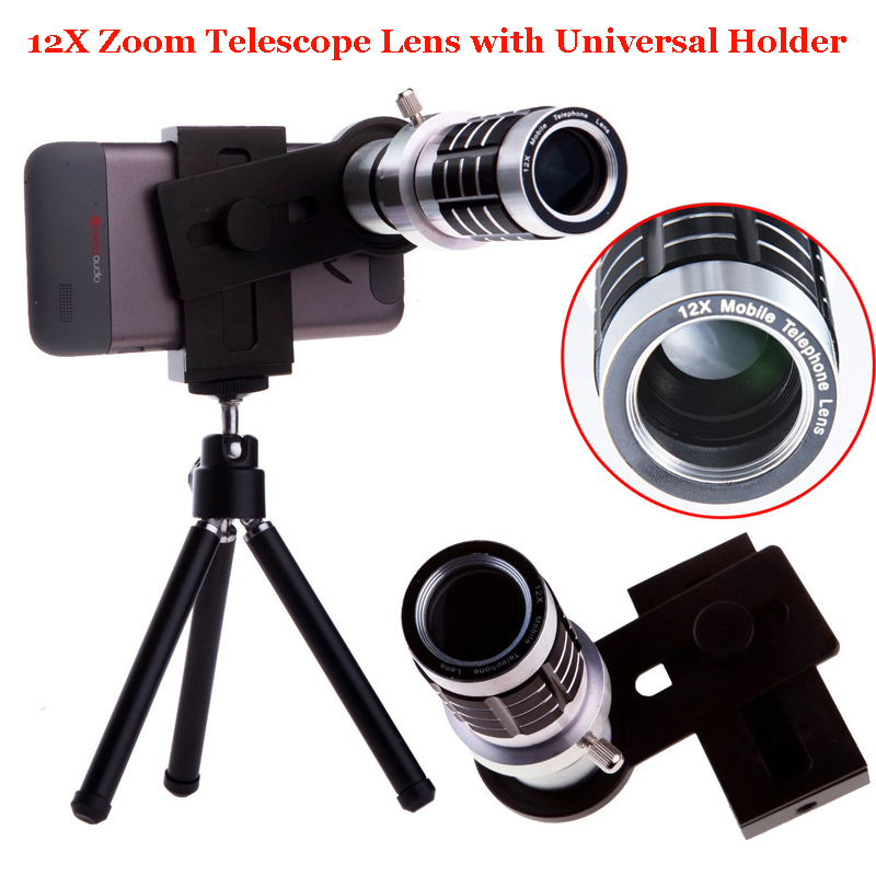 Universal 12X Optical Telephoto Telescope Camera Zoom Lens+Aluminum Tripod For Ulefone 008 PRO/For Xiaomi Redmi 4 Pro prime NOTE 12x optical zoom telescope camera lens w back case for samsung galaxy note 2 n7100 silver black