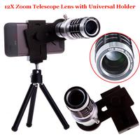 Universal 12X Optical Telephoto Telescope Camera Zoom Lens+Aluminum Tripod For Ulefone 008 PRO/For Xiaomi Redmi 4 Pro prime NOTE