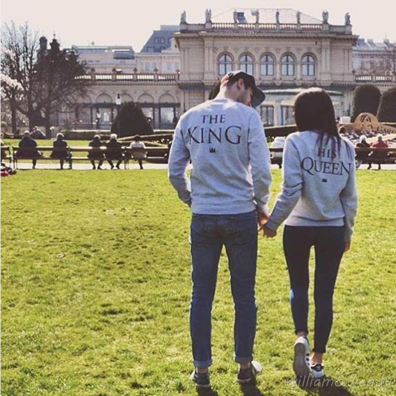 Men And Women Tumblr Sweatshirt Couple Suit King Queen Printing Usa