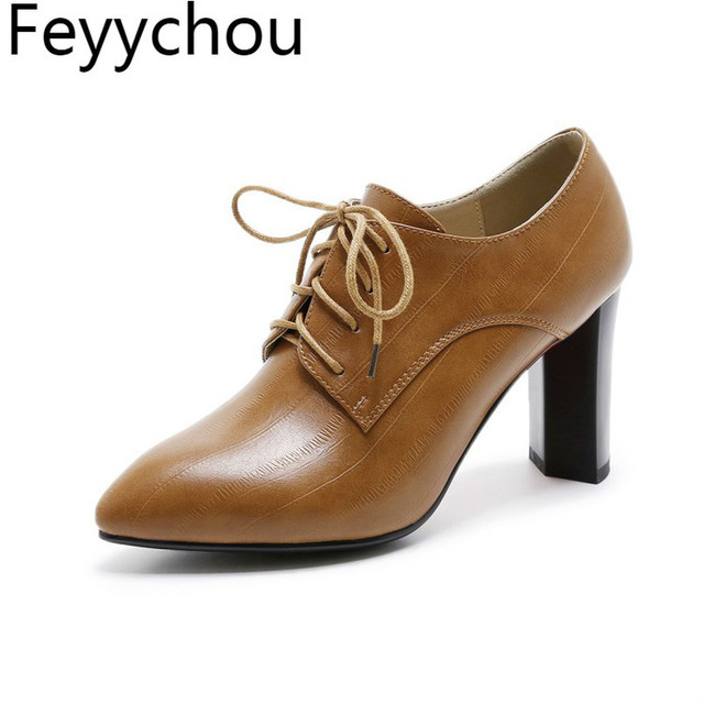 2a20e04984 Women's Pumps High Heel Shoes Pointed Toe Ladies Oxfords Spring Pumps Shoes  Soft PU Leather Casual Size 34-41 Color Black Brown