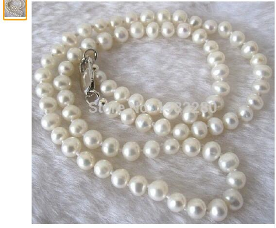 Women Gift Freshwater fashion DIY jewelry 7 8mm White Akoya Cultured Pearl Necklace 17 5 quot in Chain Necklaces from Jewelry amp Accessories