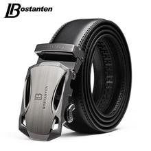 BOSTANTEN Mens Belt Cow Leather Belts Brand Fashion Automatic Buckle Black Genuine for Men 3.4cm Width