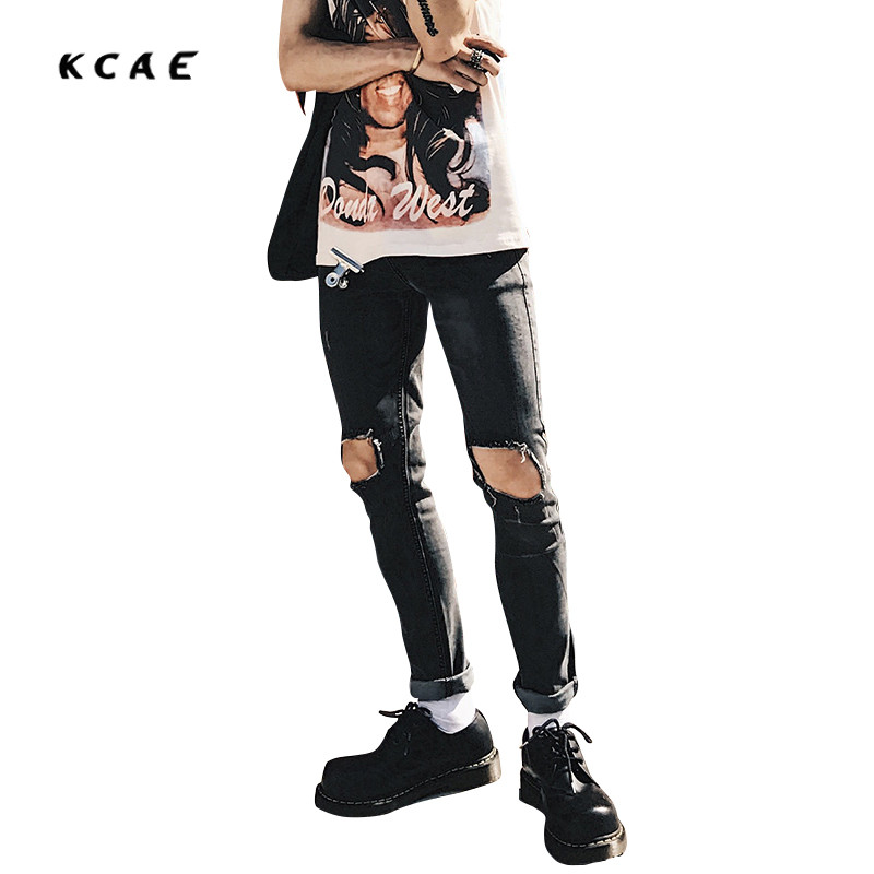 Brand Design Ripped Jeans Men Size 28 to 34 Straight Slim Fit Mens Denim Biker Jeans High Quality Casual Men Trousers 2017 fashion patch jeans men slim straight denim jeans ripped trousers new famous brand biker jeans logo mens zipper jeans 604