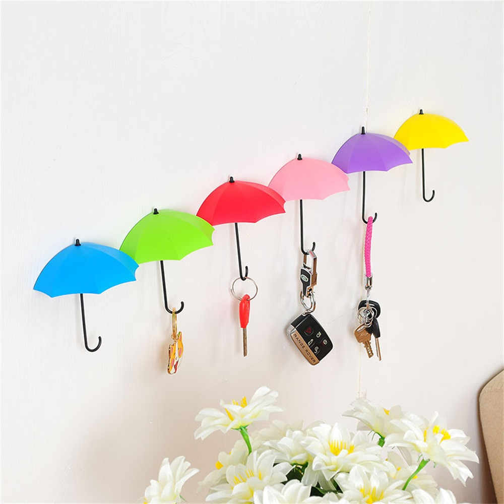 6 Piece Colorful Umbrella Wall Hook Key Glasses Wallet Hair Pin Holder Organizer Decorative Wall Decor Home Decoration B1