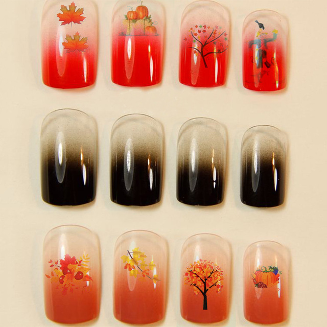 12Pcs/Sheet Christmas Xmas Maple Leaf Nail Art Water Transfer Decal ...