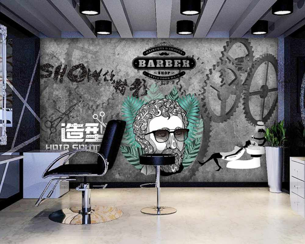 Free Shipping Barber Shop Design Background Wall Custom 3d