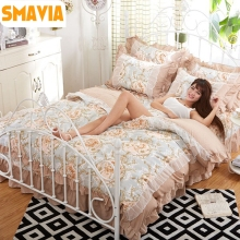 Sweet Princess Style 4pcs Bedding Sets 100% Polyester Duvet Cover Lace Bed Sheet Pillowcases Twin Double Full Queen King size