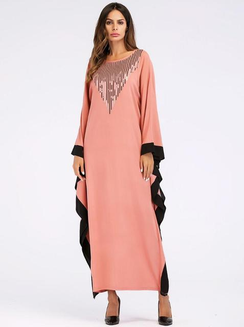 Arab elegant loose abaya kaftan islamic fashion muslim dress clothing design women bat sleeve dubai abaya Robe 3
