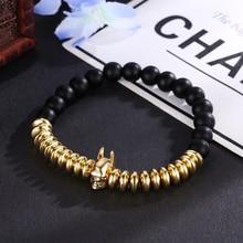 HOBBORN Trendy Men Batmen Beads Bracelet 8mm Black Matte Onyx Handmade Rose Silver Charm Women Healing Bracelets Energy Pulsera