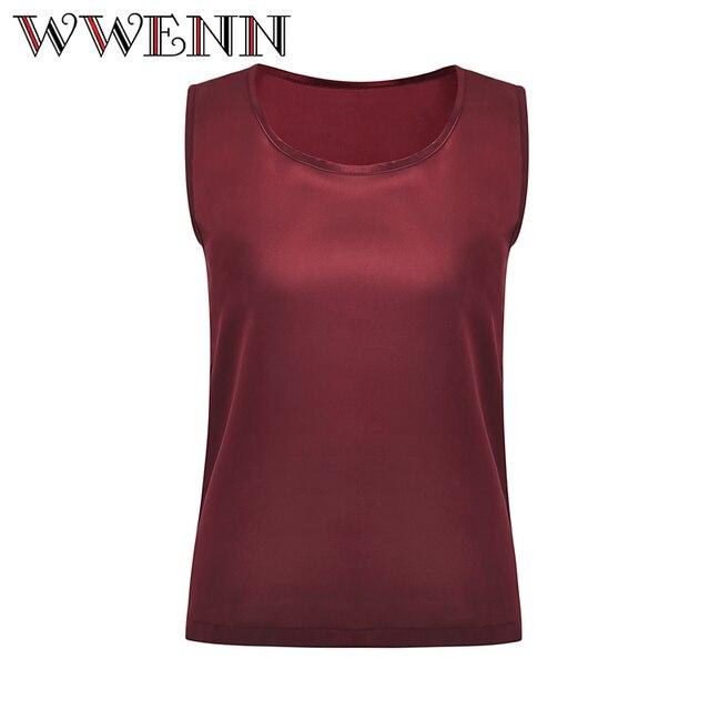 WWENN Casual Tops Summer Silk Blouse Women Shirt Sleeveless O-Neck Blouse Casual Shirt Office Tops Blusas Camicetta donna