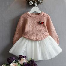 2017 Autumn Baby Girl Clothing Sets Long Sleeve pullover sweaters dress Casual 2PCS Girls Suits for