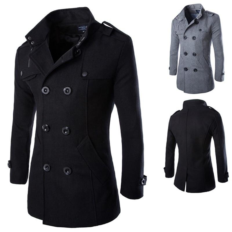 Autumn Winter Men's Jackets Fashion Casual Blend Jacket Male Woolen Coat Double Breasted Outerwear Coat Male Black 3XL