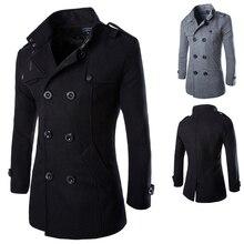Осень Зима для мужчин's Куртки модные повседневное смесь куртка мужской шерстяной пальто двубортный верхняя одежда пальто мужской черны