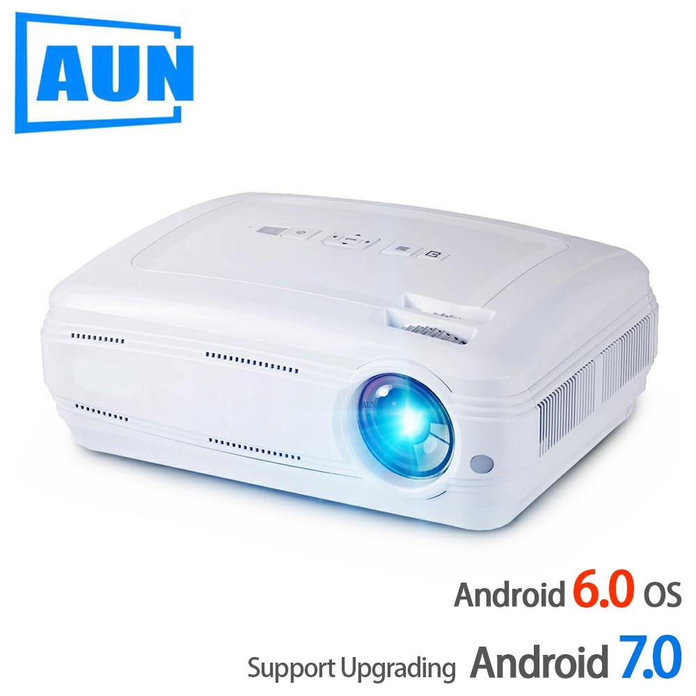Аун AKEY2 светодио дный проектор, 3500 люмен Обновление Android 7,0 проектор. Встроенный WI-FI, Bluetooth, Поддержка видео 4k Full HD 1080p светодио дный ТВ