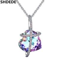 SHDEDE Women Fashion Jewelry Crystal from Swarovski Heart Pendant Necklace Bride Rhinestone Birthday Best Friends Gifts .26162