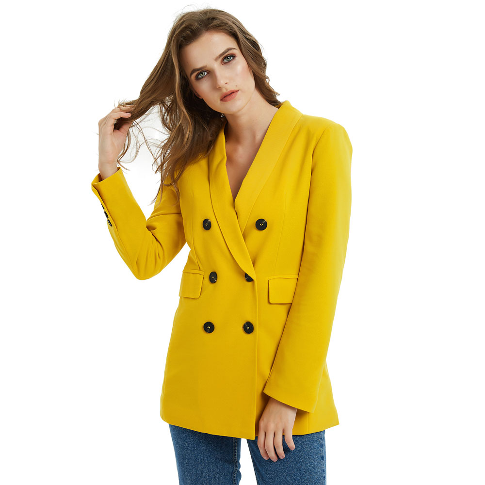 Pink Yellow Color Suit Blazer Jacket Women Fashion Long Sleeve Coat Women Elegant Double Breasted Jacket Suits Female Ladies(China)