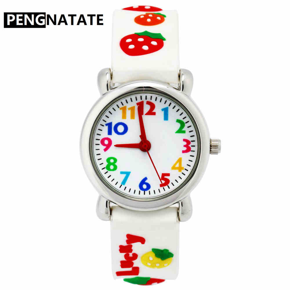 PENGNATATE Children Watches Fashion Silicone Strap Kids Quartz Watch Women Girls 3D Rubber Watchband Bracelet Wristwatch Gifts