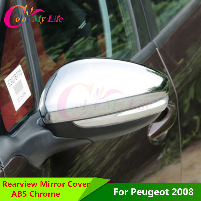 Color My Life RearView Mirror Rear-view Backup Decorative Chrome Trim Cover Sticker for Peugeot 2008 208 2014 - 2016 Accessories sncn inflexible acrylic rearview mirror rain gear shield rear view mirror anti rain cover for bmw x5 e70 2007 2008 2011 2012
