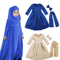 Muslim Maxi Dresses For Baby Girls Clothes Costume Children Bow Headbands+Scarf+Sequin Vestidos Clothing  Party Holiday Vintage
