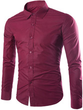 2019 Autumn Mens Shirt Long Sleeve Casual Slim Fit Cotton Solid Purple Business for Male Plus Size Formal