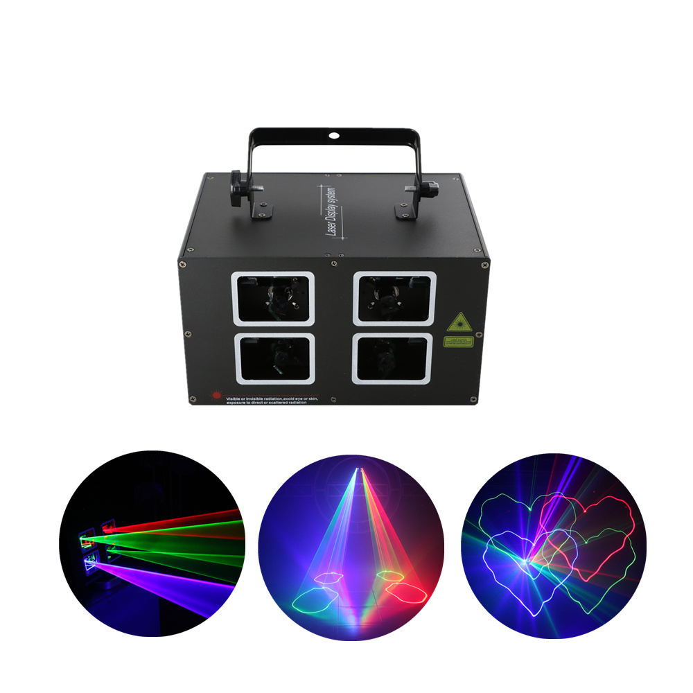 AUCD 4 Lens 500mw DMX RGB Beam Lamp Scan Projector Laser Lights LED DJ Party Nightclub Pro KTV Wedding Show Stage Lighting DJ-4L 3 lens rgb full color scan beam line pattern laser lights dmx sound auto dj party home show bar club stage lighting effect h 3 p