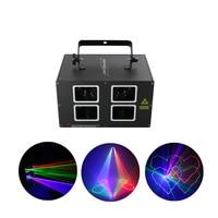 AUCD 4 Lens 500mw DMX RGB Beam Lamp Scan Projector Laser Lights LED DJ Party Nightclub Pro KTV Wedding Show Stage Lighting DJ 4L
