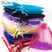 100pcs/lot 7*9cm wedding favor jewelry gift Mixed colors organza pouch  Bag drawing jewellery 3mm wide ribbon