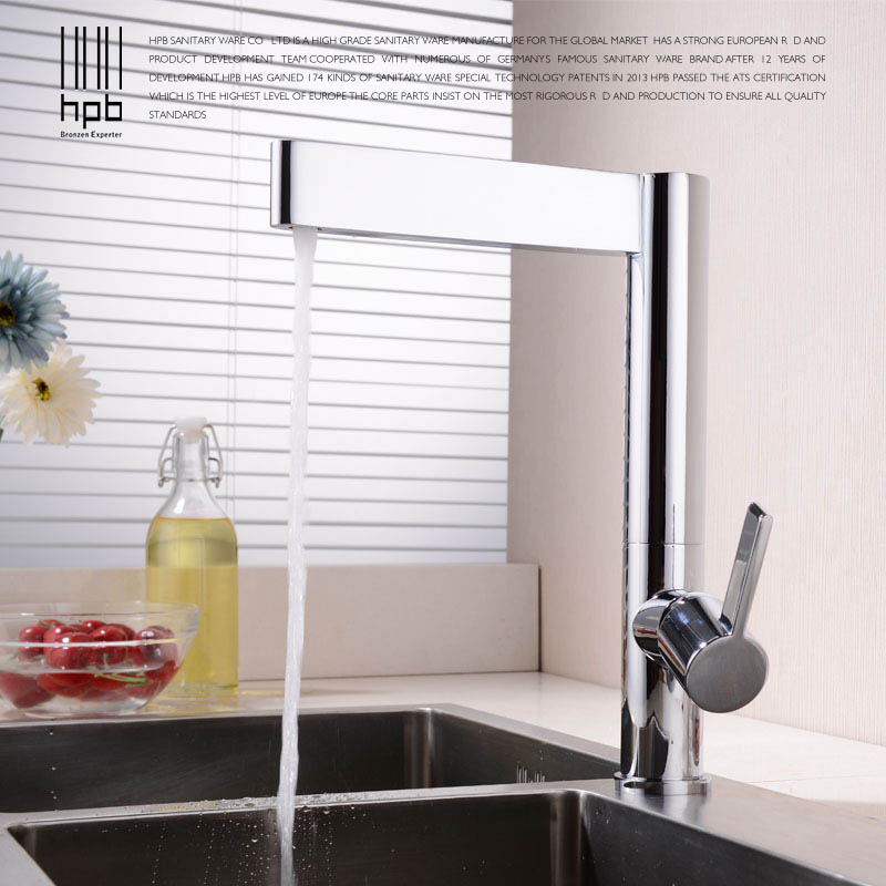 HPB contemporary high quality brass chrome polished kitchen faucet mixer tap single handle cold and hot water mixer HP4016 micoe brass faucet single handle single hole kitchen faucet double nozzle water mixer chrome hot and cold water rotating faucet
