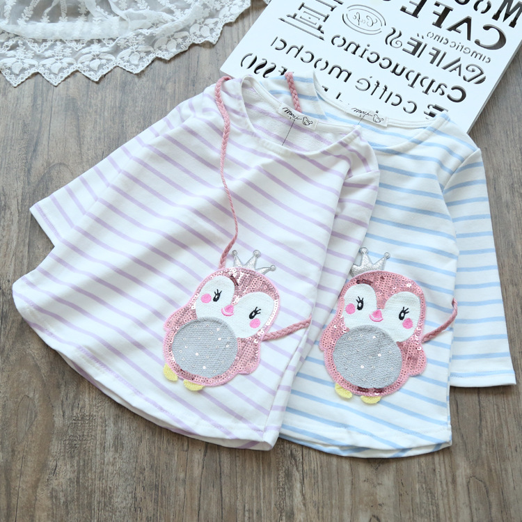 Autumn Spring Fashion Girls Sequins T-shirt Cute Penguin T-shirts girl Tops Girl Striped long sleeve t Shirts Baby Girl Clothes girls hello kitty happy birthday t shirts 2017 brand cartoon toddler girl dresses spring autumn girl dress